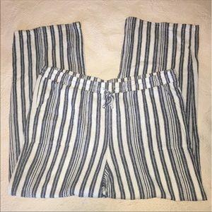 Lagenlook wide leg beach striped linen blend pants